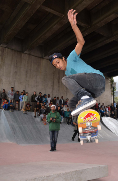 A skateboarder pulls off a jumping trick at the newly opened Gardens Skate Park. Photo by Bruce Sutherland