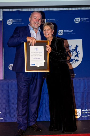 Chad le Clos' father accepted the award on his behalf