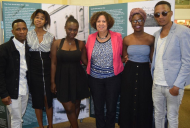 Charlene Houston (DCAS Museum Service) with Kuyakhanya Production at the launch of the SS Mendi exhibition at the Simon's Town Museum