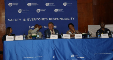 From left: Chief Director Yashina Pillay, Municipal Manager Monde Stratu, Speaker Barend Groenewald, Councillor Erica Meyer and Major General Oswald Reddy