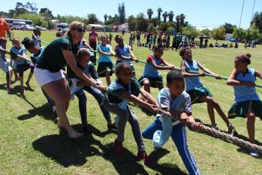 Children participating in Tug of War exhibition