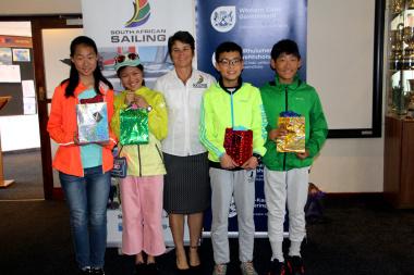 Chinese sailors Zang Yukun, Cao Yawen, Zhao Xinxiang and Li Linxiao with Bev le Sueur from SASWC