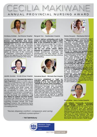 Profile of the Cecilia Makiwane Nursing Award (2015) nominees.