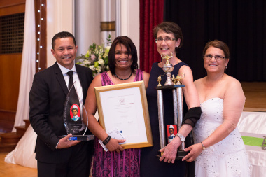 The Cecilia Makiwane Winner (Denise Booysen) (middle) together with Dr Keith Cloete (DDG), Dr Beth Engelbrecht (HOD) and Florence Africa (Director Nursing Western Cape Government Health) showing her trophies after taking the prize.