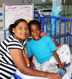 Jayden Swartz underwent reconstructive bowel surgery during Colorectal Week. He is pictured with is mother Esmeralda.