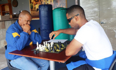 Concentration levels were high during the chess games.