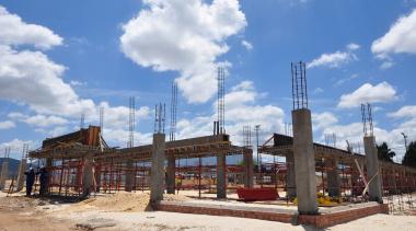 Construction on the school hall.