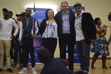 Councillor Julian Kritzinger and adjudicators proudly invested in the aspiring artists