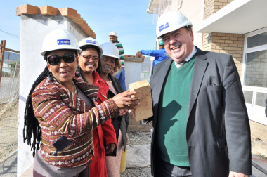 Minister Mbombo and Minister Grant on site at the new Nomzamo Community Day Care Centre.