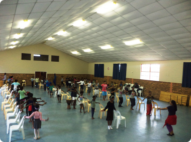 Dance for All busy facilitating one of the dance development workshops in Zolani.