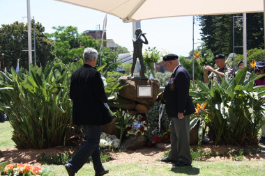 Wreaths are layed in honour of the World War II servicemen and veterans.