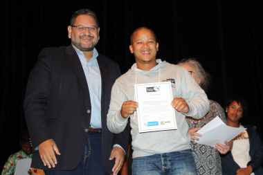 DCAS HOD Brent Walters with Ettiene Matwan who completed the Arts Training Programme
