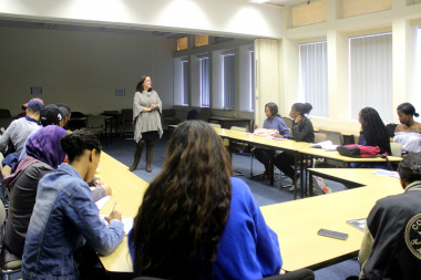 DCAS Library Service Director Cecilia Sani interacts with UWC Students in Cape Town