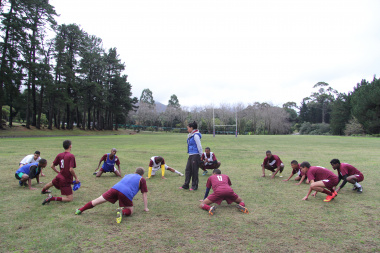DCAS trainer Shaundre Jacobs takes players through their paces.
