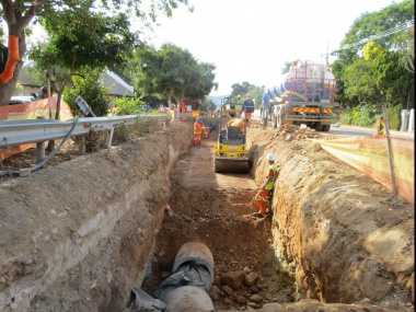 Deep and wide excavations had to be done for stormwater pipes.