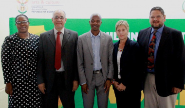 Delegates at the opening ceremony of National Archives Week. From left CD at DAC, Nomaza Dingayo, Deputy Min of Basic Education, Enver Surty, Prof Mpho Ngoepe from UNISA, Min of DCAS Anroux Marais and HOD, Brent Walters