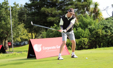 Deon Burger of the Department of Cultural Affairs and Sport in action at the Rondebosch Golf Club.