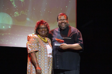 Director Jane Moleleki with Athol Williams, Winner for Contribution to Literary Arts at the Cultural Affairs Awards at Artscape