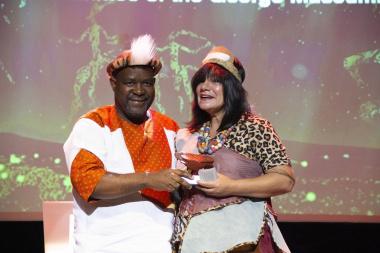 Director Museum Service Dr Mxolisi Dlamuka with Museum Volunteer of the Year winner Quaanitah Simons at Artscape