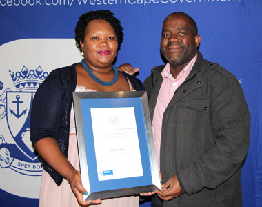 Director Mxolisi Dlamuka with Masa Soko of Lwandle Migrant Labour Museum at the annual museum symposium in Stellenbosch