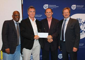 Director of DCAS Sport Promotion, Thabo Tutu, Ronnie Knott and Johan van Zyl from Overberg Karate, and Minister of Cultural Affairs and Sport, Theuns Botha