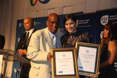 Director Thabo Tutu with Ilse Hayes, the winner in the category Sportswoman with a Disability