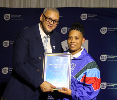 Dr Bouah with nominee Alvine Volkwyn at the Eden Sport Awards in Oudtshoorn