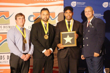 Dr Bouah with Sportsman of the Year - Caleb Josh Howard with other nominees