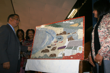 Dr Ivan Meyer at the Mosaic that was also launched.