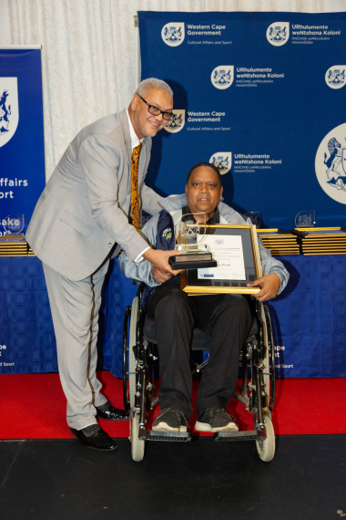Dr Lyndon Bouah with Henry Piedt, winner of Community Builder of the Year