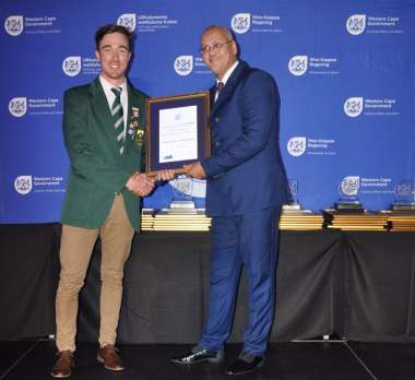 DCAS Dr Lyndon Bouah with 2017 Western Cape Sport Awards nominee Nick Janse van Rensburg