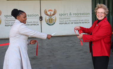 Dr Nomafrench Mbombo and Councillor Nicolette Botha Guthrie open upgrades to the Gansbaai Sport Centre gym
