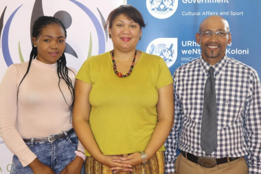 Drakenstein Municipal Councillors, Anathi Lugqola and Calvin Kroutz, with Liezl Jansen, DCAS Arts Development, at the 2018 Arts Week in Simondium