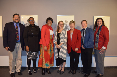 Minister Anroux Marais and Dr Corinne Rogers with stakeholders at SA Society of Archivists Conference in Bellville, South Africa 2017