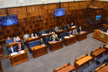 Minister Sharna Fernandez, tabling the department's annual report for the 2018/19 financial year