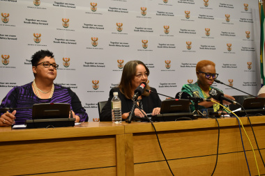 Minister Sharna Fernandez , National Minister of Public Works and Infrastructure, Patricia De Lille, National Minister of Social Development, Lindiwe Zulu at the press conference earlier today