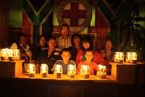 Staff members and guests enjoy the ambience in the foyer lit by Safer Candles at Red Cross War Memorial Children's Hospital