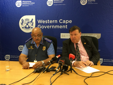 Minister Grant and Provincial Traffic Chief Kenny Africa, briefing the media on Easter Operational Plans