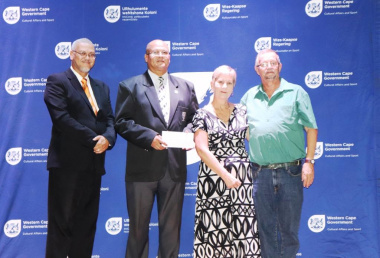 Eden Sport Council receiving their funding. From left: Dr Lyndon Bouah, David Speelman, Minister Anroux Marais and Dave van der Walt