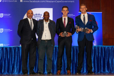 Elton Davids, Director Thabo Tutu and nominees in the sportsman of the year category at the Cape Cape Metro Sport Awards