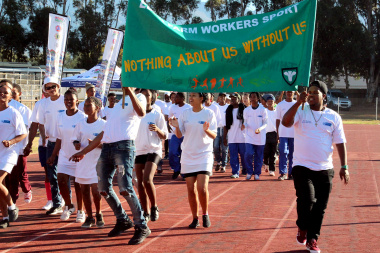 Excited Eden district athletes during the march pass
