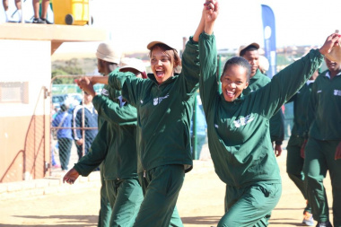 Excited representatives from rural development and land reform during the march-past