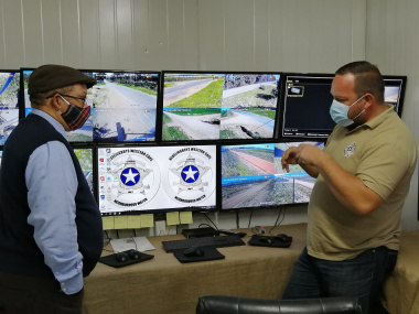 Francois de Jager showing minister Meyer surveillance cameras