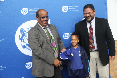 From Left WCED representative Mr. Henry Botha alongside Team Western Cape gymnastics representative, Ms. Nazley Losper and DCAS HOD Mr. Brent Walters