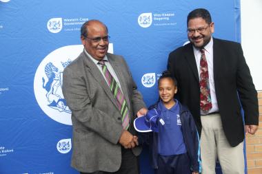 From Left WCED representative Mr. Henry Botha alongside Team Western Cape gymnastics representative, Ms. Nazley Losper and DCAS HOD Mr. Brent Walters