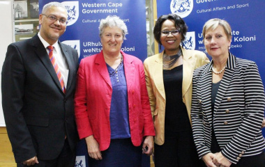 From left Acting HOD Dr Lyndon Bouah, Researcher Dr Antonia Malan, Director Provincial Archive Service Nikiwe Mamoti and Minister Anroux Marais at the launch of National Archives Week.