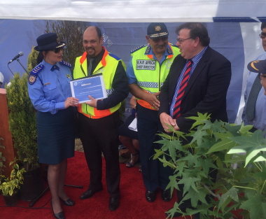 Minister Grant with Provincial Traffic Chief Kenny Africa and Head of Transport Management Branch, Adv. Kyle Reinecke at the launch of the 2016/2017 Western Cape Festive Season Traffic Operational Plan.