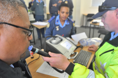 Fully trained traffic officers test the new equipment at the Gene Louw Traffic College.