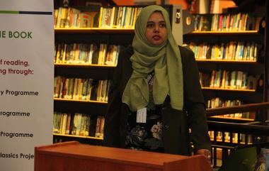 Gadija Abdullatief speaks at the event.