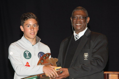 Georgou Divaris (School Sportsman of the Year) with Goliath Munro (SWD Sport Council).